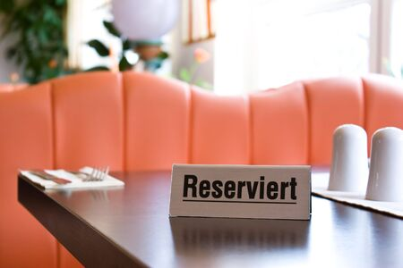 a reservation sign in a restaurant photo