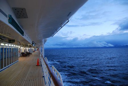 deck on a cruise ship sailing in Alaska