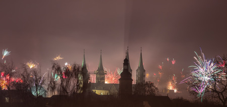 New Year's Eve over Bamberger Dom Foto de archivo