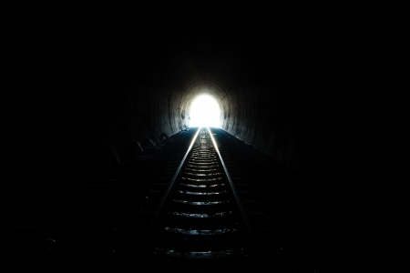 visual perception: Light at the end of the tunnel  Stock Photo