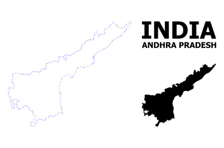 Vector contour Map of Andhra Pradesh State with title. Map of Andhra Pradesh State is isolated on a white background. Simple flat dotted geographic map template.