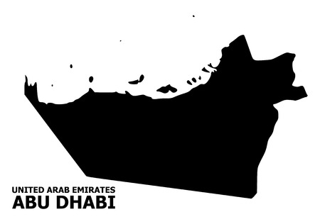 Vector Map of Abu Dhabi Emirate with title. Map of Abu Dhabi Emirate is isolated on a white background. Simple flat geographic map.