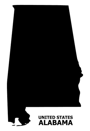 Vector Map of Alabama State with title. Map of Alabama State is isolated on a white background. Simple flat geographic map. Illustration