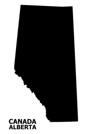 Vector Map of Alberta Province with name. Map of Alberta Province is isolated on a white background. Simple flat geographic map.