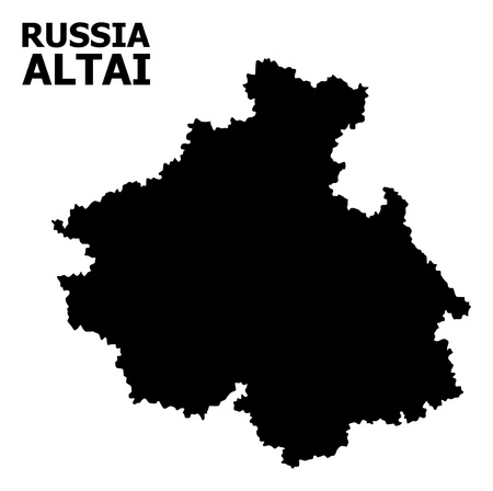 Vector Map of Altai Republic with caption. Map of Altai Republic is isolated on a white background. Simple flat geographic map.  イラスト・ベクター素材