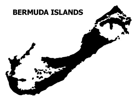 Vector Map of Bermuda Islands with name. Map of Bermuda Islands is isolated on a white background. Simple flat geographic map.