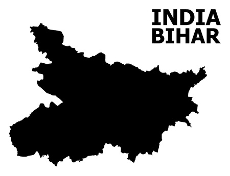 Vector Map of Bihar State with title. Map of Bihar State is isolated on a white background. Simple flat geographic map.