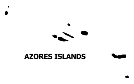 Vector Map of Azores Islands with caption. Map of Azores Islands is isolated on a white background. Simple flat geographic map.