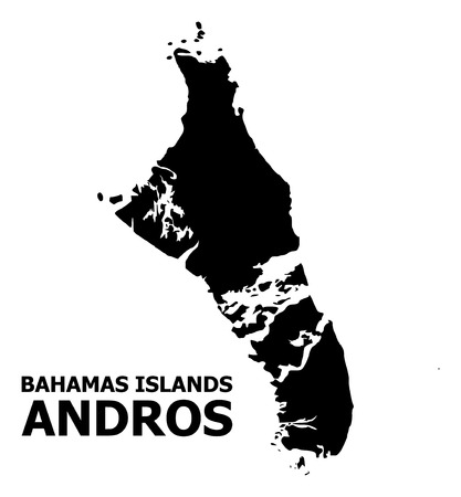 Vector Map of Bahamas - Andros Island with title. Map of Bahamas - Andros Island is isolated on a white background. Simple flat geographic map.