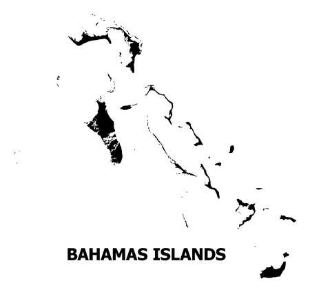 Vector Map of Bahamas Islands with name. Map of Bahamas Islands is isolated on a white background. Simple flat geographic map.
