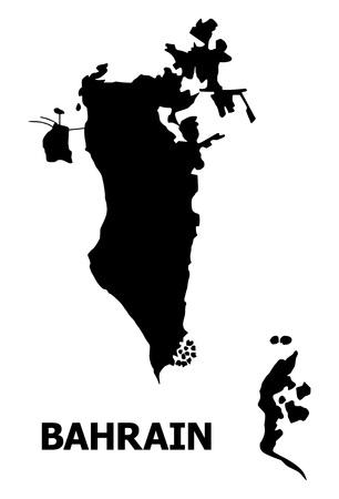 Carte vectorielle de Bahreïn avec légende. La carte de Bahreïn est isolée sur fond blanc. Carte géographique simple et plate.