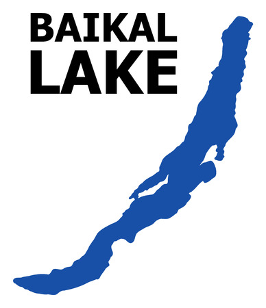 Vector Map of Baikal with name. Map of Baikal is isolated on a white background. Simple flat geographic map.