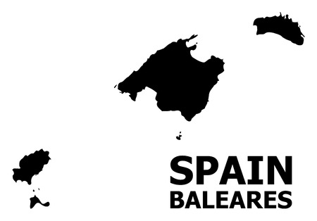 Vector Map of Baleares Province with name. Map of Baleares Province is isolated on a white background. Simple flat geographic map.