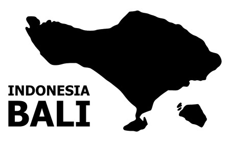 Vector Map of Bali Island with title. Map of Bali Island is isolated on a white background. Simple flat geographic map. Ilustração