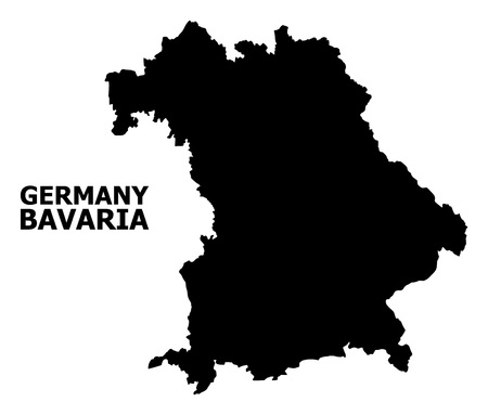 Vector Map of Bavaria State with name. Map of Bavaria State is isolated on a white background. Simple flat geographic map.
