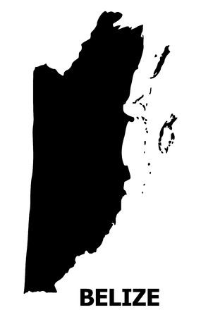 Vector Map of Belize with name. Map of Belize is isolated on a white background. Simple flat geographic map. Vetores