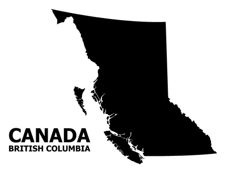 Vector Map of British Columbia Province with title. Map of British Columbia Province is isolated on a white background. Simple flat geographic map. Иллюстрация