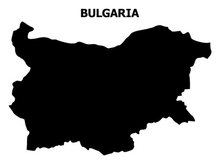 Vector Map of Bulgaria with title. Map of Bulgaria is isolated on a white background. Simple flat geographic map.