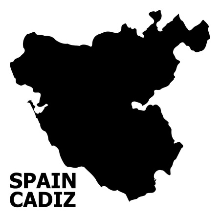 Vector Map of Cadiz Province with caption. Map of Cadiz Province is isolated on a white background. Simple flat geographic map. Иллюстрация
