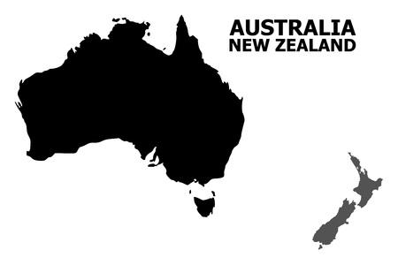 Mappa vettoriale di Australia e Nuova Zelanda con titolo. La mappa dell'Australia e della Nuova Zelanda è isolata su uno sfondo bianco. Semplice mappa geografica piatta.