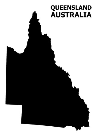 Vector Map of Australian Queensland with title. Map of Australian Queensland is isolated on a white background. Simple flat geographic map. Illustration