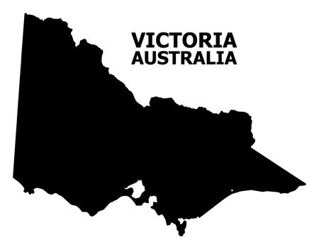Vector Map of Australian Victoria with title. Map of Australian Victoria is isolated on a white background. Simple flat geographic map. 向量圖像