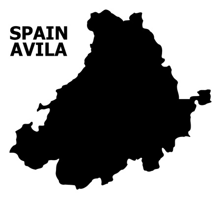 Vector Map of Avila Province with name. Map of Avila Province is isolated on a white background. Simple flat geographic map.