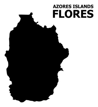 Vector Map of Azores - Flores Island with caption. Map of Azores - Flores Island is isolated on a white background. Simple flat geographic map. 向量圖像