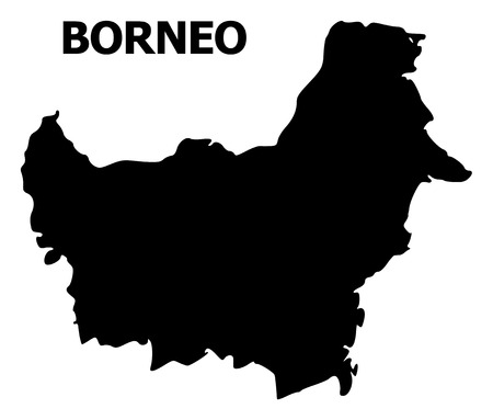 Vector Map of Borneo Island with caption. Map of Borneo Island is isolated on a white background. Simple flat geographic map.