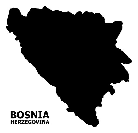 Vector Map of Bosnia and Herzegovina with caption. Map of Bosnia and Herzegovina is isolated on a white background. Simple flat geographic map. Illustration
