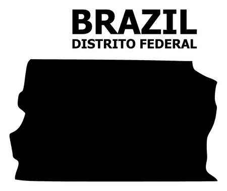 Vector Map of Brazil - Distrito Federal with title. Map of Brazil - Distrito Federal is isolated on a white background. Simple flat geographic map.