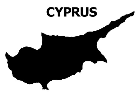 Vector Map of Cyprus Island with caption. Map of Cyprus Island is isolated on a white background. Simple flat geographic map.