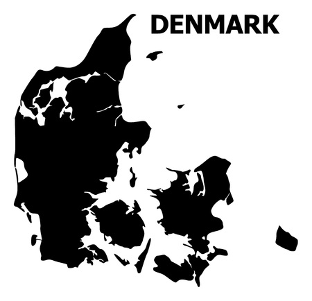 Vector Map of Denmark with title. Map of Denmark is isolated on a white background. Simple flat geographic map.