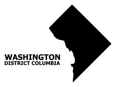 Vector Map of District Columbia with name. Map of District Columbia is isolated on a white background. Simple flat geographic map. Illustration