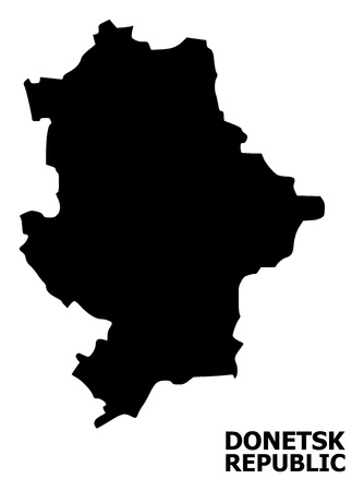 Vector Map of Donetsk Republic with title. Map of Donetsk Republic is isolated on a white background. Simple flat geographic map. Illustration