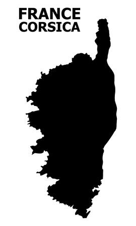 Vektorkarte von Korsika mit Bildunterschrift. Karte von Korsika ist auf einem weißen Hintergrund isoliert. Einfache flache geografische Karte. Vektorgrafik