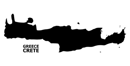 Vector Map of Crete Island with name. Map of Crete Island is isolated on a white background. Simple flat geographic map.