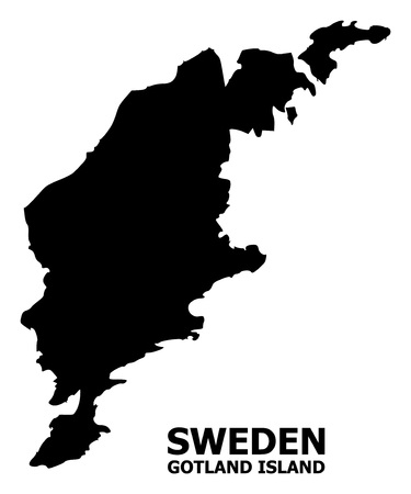 Vector Map of Gotland Island with caption. Map of Gotland Island is isolated on a white background. Simple flat geographic map.
