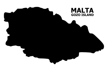 Vector Map of Gozo Island with title. Map of Gozo Island is isolated on a white background. Simple flat geographic map.
