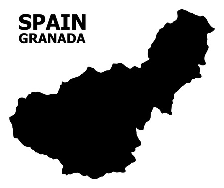 Vector Map of Granada Province with caption. Map of Granada Province is isolated on a white background. Simple flat geographic map.