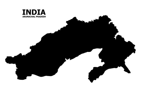 Vector Map of Arunachal Pradesh State with name. Map of Arunachal Pradesh State is isolated on a white background. Simple flat geographic map. Illustration