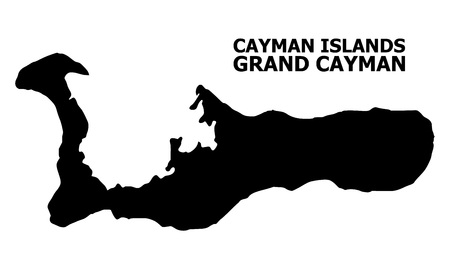 Vector Map of Grand Cayman Island with title. Map of Grand Cayman Island is isolated on a white background. Simple flat geographic map.