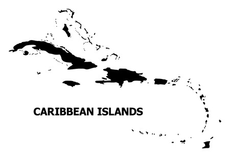 Vector Map of Caribbean Islands with name. Map of Caribbean Islands is isolated on a white background. Simple flat geographic map.