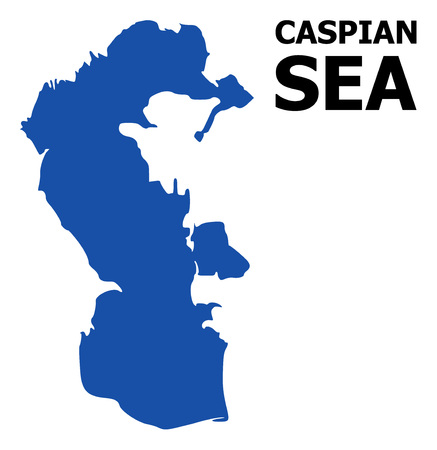Vector Map of Caspian Sea with name. Map of Caspian Sea is isolated on a white background. Simple flat geographic map. Иллюстрация
