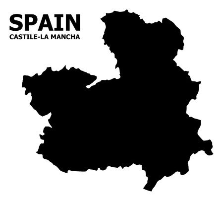 Vector Map of Castile-La Mancha Province with caption. Map of Castile-La Mancha Province is isolated on a white background. Simple flat geographic map. Ilustração