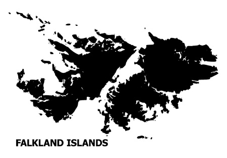 Vector Map of Falkland Islands with name. Map of Falkland Islands is isolated on a white background. Simple flat geographic map. Çizim