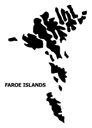 Vector Map of Faroe Islands with caption. Map of Faroe Islands is isolated on a white background. Simple flat geographic map.