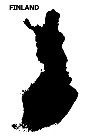 Vector Map of Finland with title. Map of Finland is isolated on a white background. Simple flat geographic map.