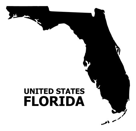 Vector Map of Florida State with caption. Map of Florida State is isolated on a white background. Simple flat geographic map.