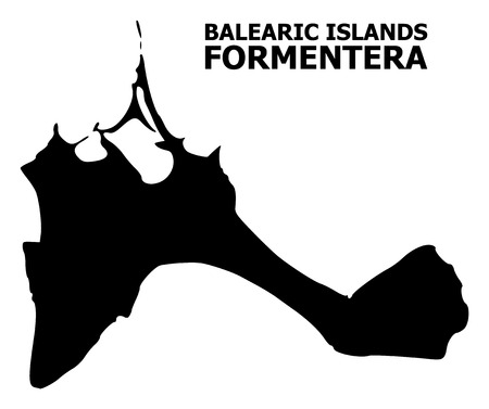Vector Map of Formentera Island with title. Map of Formentera Island is isolated on a white background. Simple flat geographic map. Illustration